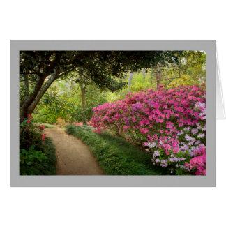 Cartão Caminho da floresta da azálea 3 com azáleas
