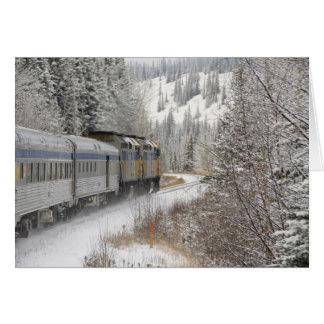 Cartão Canadá, Alberta. ATRAVÉS do trem da neve do trilho