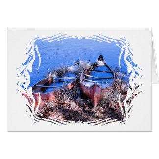 Cartão Canoas enchidas água