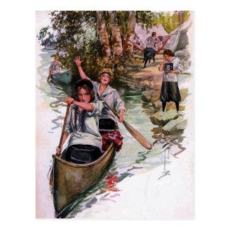Cartão Canoeing dos campistas da escuteira do