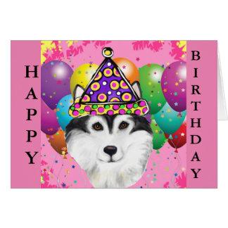 Cartão Cão do partido do Malamute do Alasca