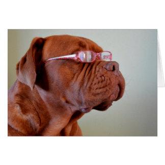 Cartão Cão que veste Eyeglasses cor-de-rosa