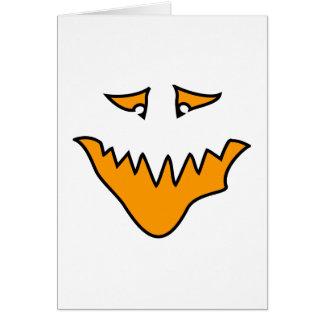 Cartão Cara assustador. Monstro alaranjado.