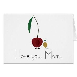 Cartão Caráteres da cereja do dia das mães e do poço da