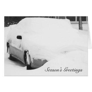 Cartão Carro coberto de neve