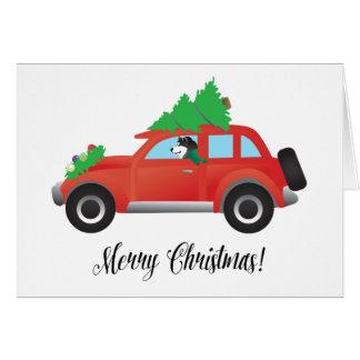 Cartão Carro do Natal do Malamute do Alasca