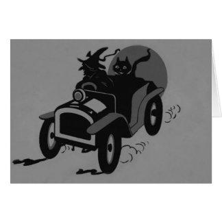Cartão Carro monocromático do gato preto da bruxa