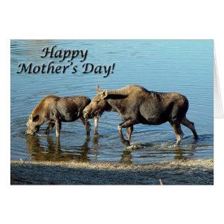 """Cartão """"Cartão do dia das mães feliz"""" dos alces e da"""