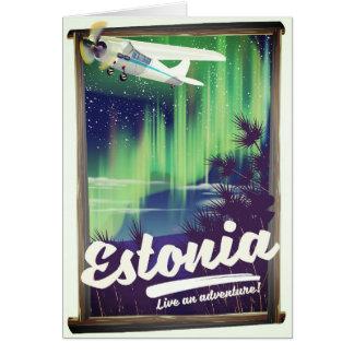 Cartão Cartaz da aventura da aurora boreal de Estónia