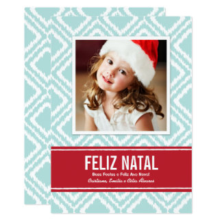 Cartão Carte Photo de Noël | Rouge et Bleu Motif Ikat