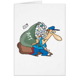 Cartão Carteiro que leva um grande saco