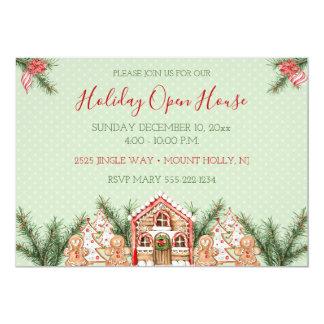 Cartão Casa de pão-de-espécie do Natal do país