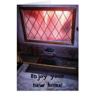 Cartão Casa nova de Woodstove da lareira da lareira