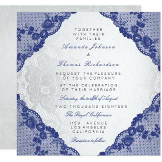 Cartão Casamento azul branco de prata clássico do laço do