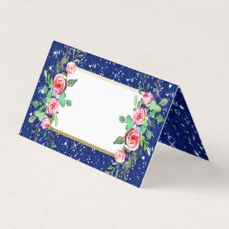 Cartão Casamento azul do brilho do falso floral chique do