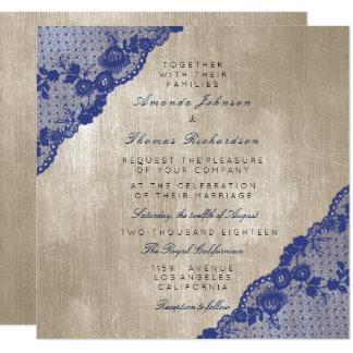 Cartão Casamento azul do laço do marinho do marfim de