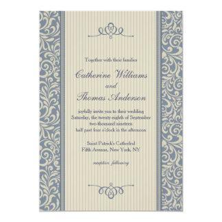 Cartão Casamento azul elegante da cor damasco