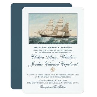 Cartão Casamento clássico náutico do navio de