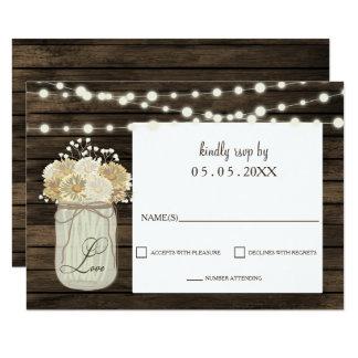 Cartão Casamento de madeira do celeiro rústico da