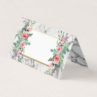 Cartão Casamento de mármore cinzento floral do ouro do