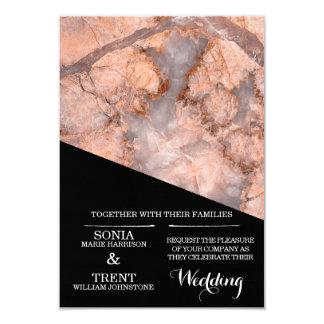Cartão Casamento de mármore preto e cor-de-rosa moderno