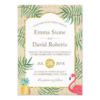 Cartão Casamento de praia tropical do verão do abacaxi &