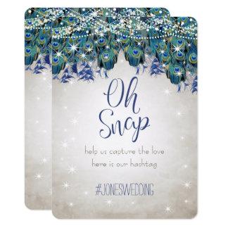 Cartão Casamento de prata Hashtag do Aqua Luxe do marinho