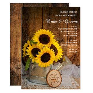 Cartão Casamento do girassol rústico e da lata molhando