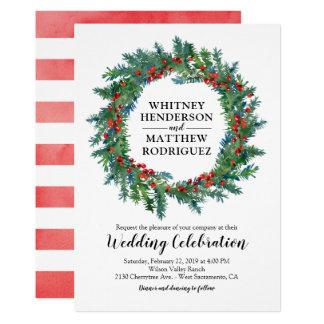 Cartão Casamento elegante da aguarela do inverno
