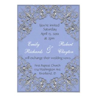 Cartão Casamento elegante do redemoinho do efeito do azul