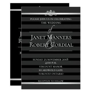 Cartão Casamento elegante formal da listra de cristal