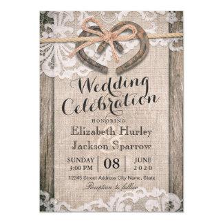 Cartão Casamento em ferradura do laço de serapilheira do
