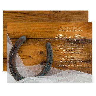 Cartão Casamento em ferradura e nupcial do celeiro do