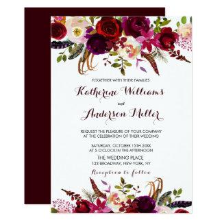 Cartão Casamento floral boémio do outono de Borgonha