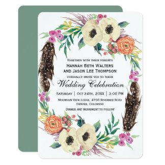 Cartão Casamento floral da aguarela de Boho