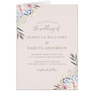 Cartão Casamento floral da aguarela romântica elegante