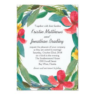 Cartão Casamento floral da aguarela tropical da