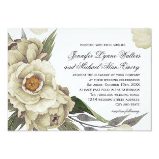 Cartão Casamento floral da elegância das peônias