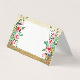 Cartão Casamento floral da folha de ouro do falso do