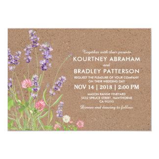 Cartão Casamento floral da lavanda rústica do jardim do