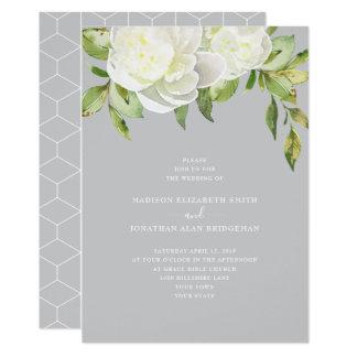 Cartão Casamento floral da peônia do primavera azul