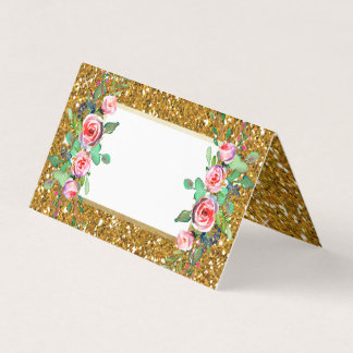 Cartão Casamento floral do brilho do ouro do falso do