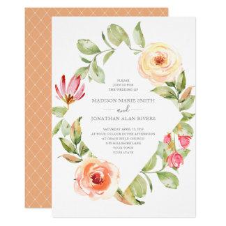 Cartão Casamento floral do pêssego do diamante do
