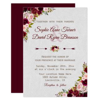 Cartão Casamento floral rústico de Borgonha Marsala do