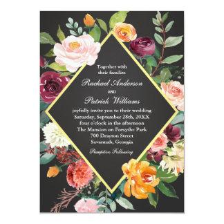 Cartão Casamento floral rústico do quadro