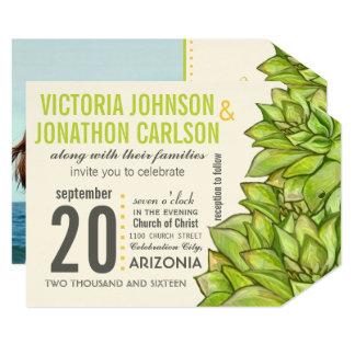 Cartão Casamento moderno da tipografia do Succulent