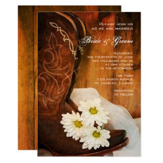 Cartão Casamento ocidental do país das botas de vaqueiro