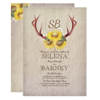 Cartão Casamento outono rústico dos Antlers e dos