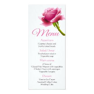 Cartão Casamento/partido cor-de-rosa da flor do menu