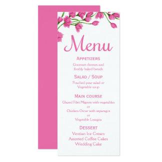 Cartão Casamento/partido fúcsia da flor do menu